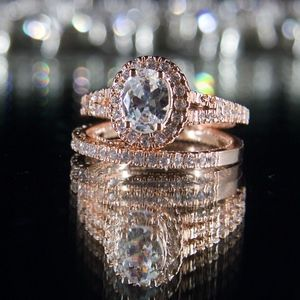 14kt Gold Dipped engagement Ring and Wedding Band